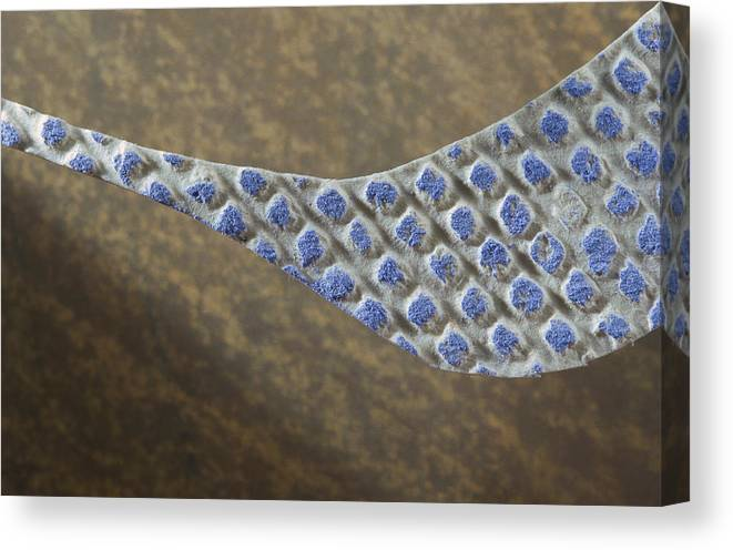 Motion Canvas Print featuring the drawing Blue Pattern on Brown Background by Brad Bealmear