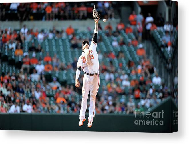 People Canvas Print featuring the photograph Boog Powell and Manny Machado by Greg Fiume