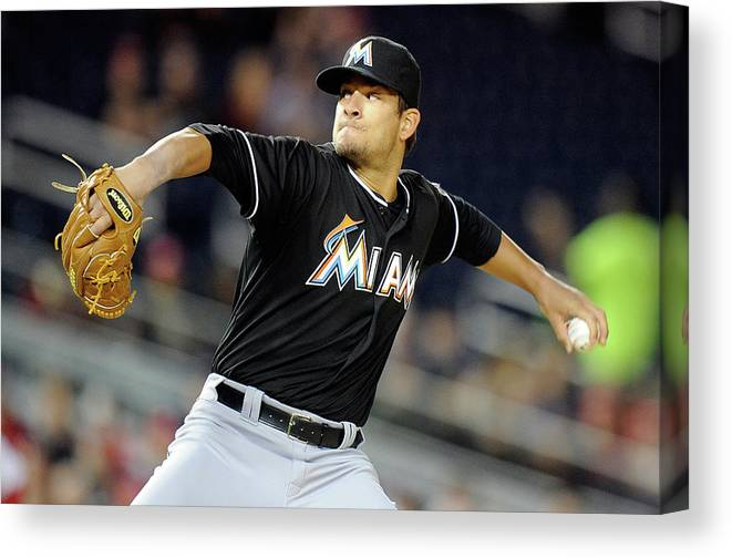 Second Inning Canvas Print featuring the photograph Brad Hand by Greg Fiume