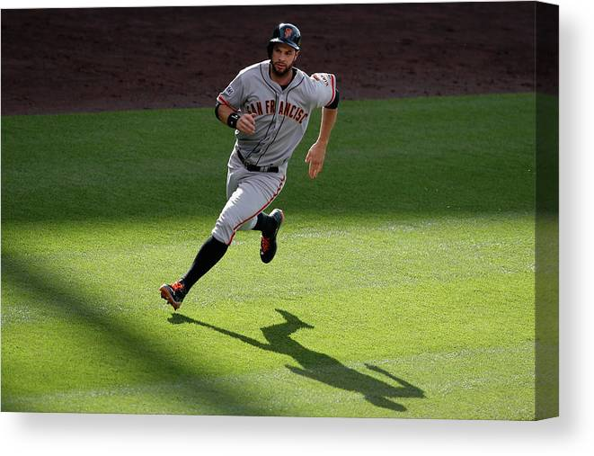 People Canvas Print featuring the photograph Brandon Crawford and Brandon Belt by Doug Pensinger