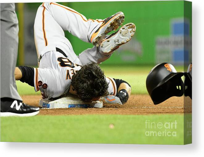 People Canvas Print featuring the photograph Brandon Crawford and Buster Posey by Eric Espada