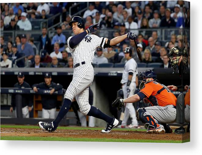 Championship Canvas Print featuring the photograph Brett Gardner and Aaron Judge by Al Bello
