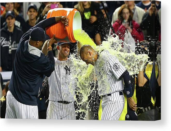 Ninth Inning Canvas Print featuring the photograph Brett Gardner and Derek Jeter by Elsa