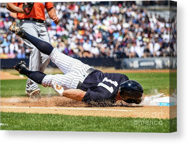 People Canvas Print featuring the photograph Brett Gardner by Mark Brown