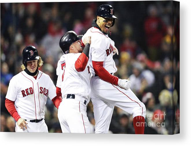 Three Quarter Length Canvas Print featuring the photograph Brock Holt and Mookie Betts by Maddie Meyer