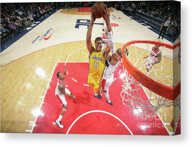 Nba Pro Basketball Canvas Print featuring the photograph Brook Lopez by Ned Dishman