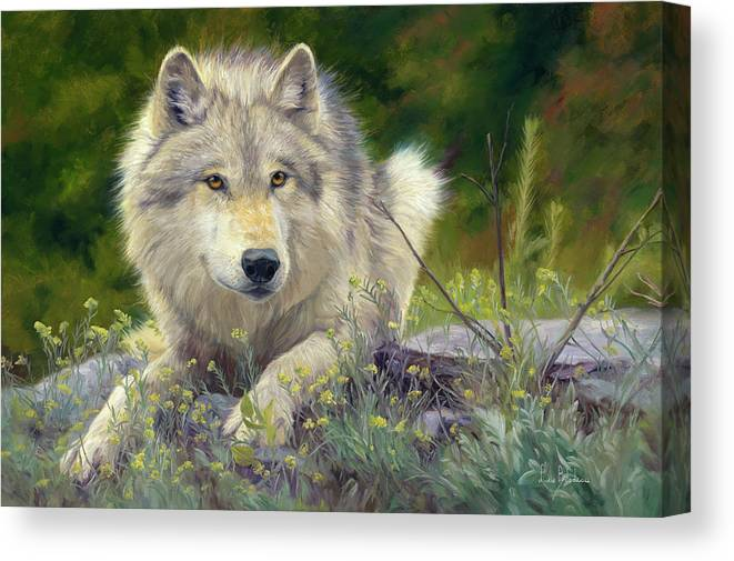 Wolf Canvas Print featuring the painting Brother Wolf by Lucie Bilodeau