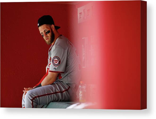 American League Baseball Canvas Print featuring the photograph Bryce Harper by Christian Petersen