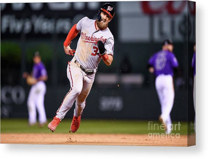 Ninth Inning Canvas Print featuring the photograph Bryce Harper by Dustin Bradford