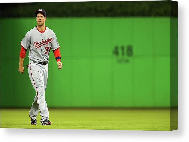 American League Baseball Canvas Print featuring the photograph Bryce Harper by Mike Ehrmann