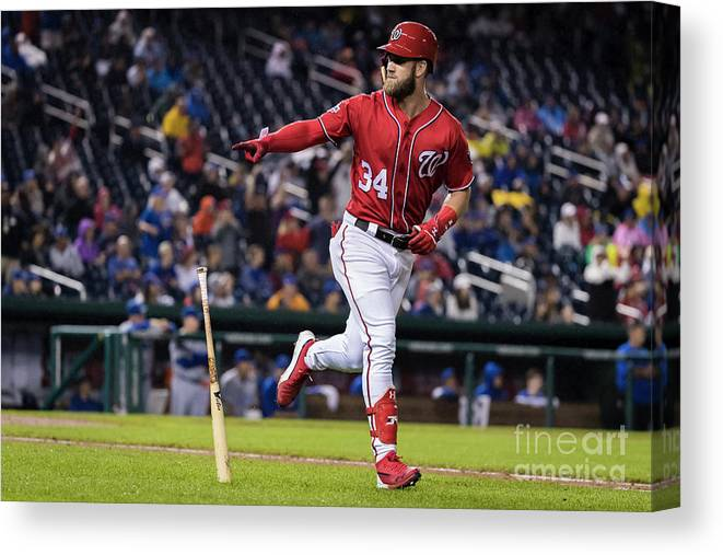 Game Two Canvas Print featuring the photograph Bryce Harper by Scott Taetsch