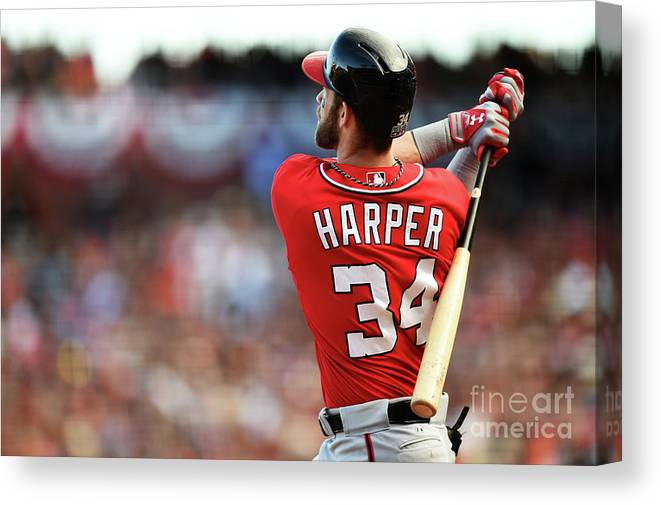 San Francisco Canvas Print featuring the photograph Bryce Harper by Thearon W. Henderson