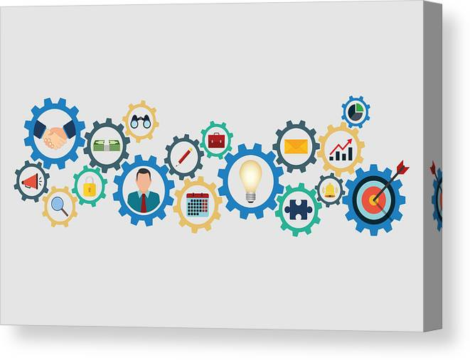 Working Canvas Print featuring the drawing Business Strategy Concept by Tuncay GÜNDOĞDU