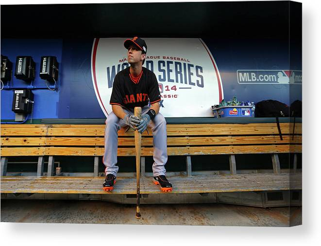 Game Two Canvas Print featuring the photograph Buster Posey by Dilip Vishwanat
