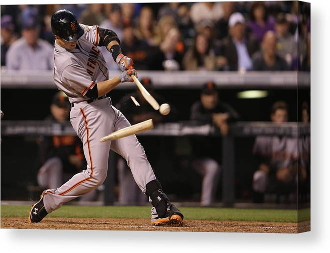 Double Play Canvas Print featuring the photograph Buster Posey by Doug Pensinger