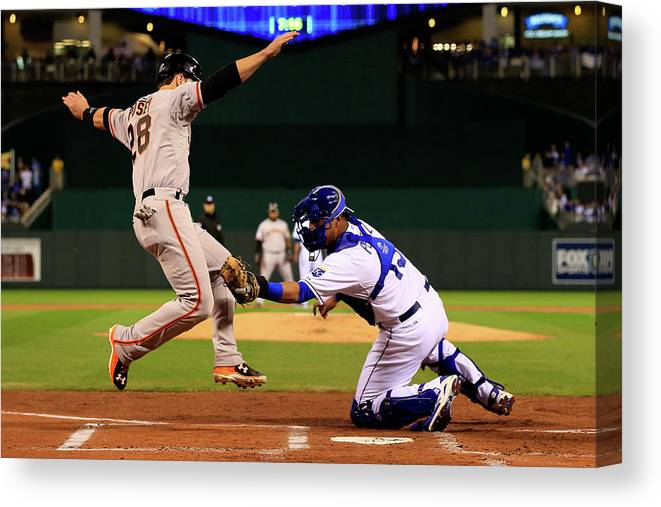 Salvador Perez Diaz Canvas Print featuring the photograph Buster Posey by Jamie Squire