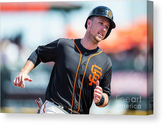 Three Quarter Length Canvas Print featuring the photograph Buster Posey by Rob Tringali