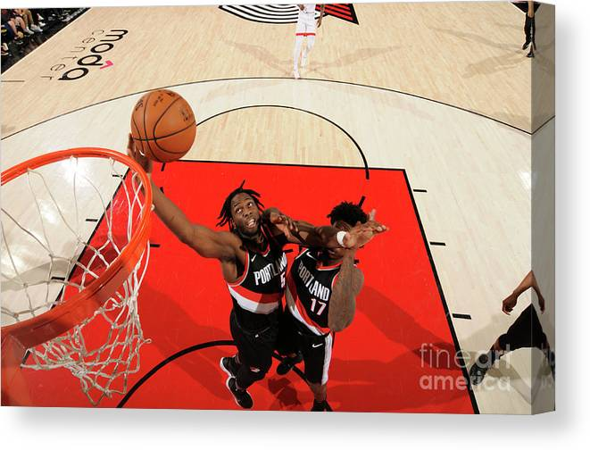 Nba Pro Basketball Canvas Print featuring the photograph Caleb Swanigan by Cameron Browne