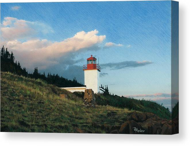 Lighthouse Canvas Print featuring the drawing Cape D'or by Brent Ander