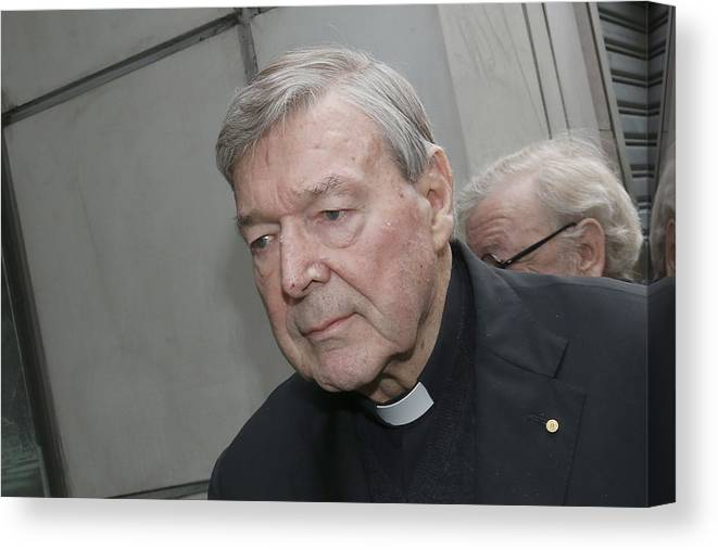 People Canvas Print featuring the photograph Cardinal George Pell Attends Court To Face Historical Child Abuse Charges by Darrian Traynor