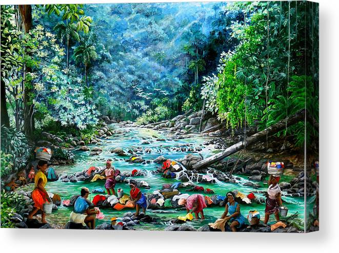 Land Scape Painting River Painting Mountain Painting Rain Forest Painting Washerwomen Painting Laundry Painting Caribbean Painting Tropical Painting Village Washer Women At A Mountain River In Trinidad And Tobago Canvas Print featuring the painting Caribbean Wash Day by Karin Dawn Kelshall- Best