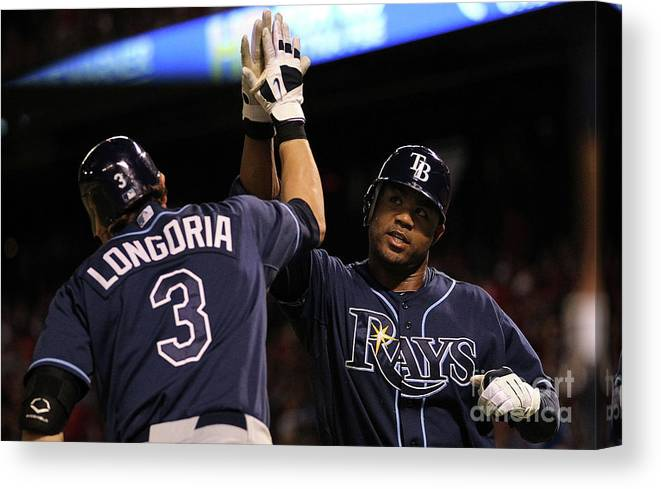 People Canvas Print featuring the photograph Carl Crawford and Evan Longoria by Ronald Martinez