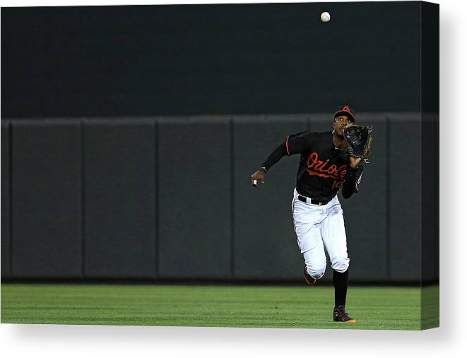 People Canvas Print featuring the photograph Carlos Beltran and Adam Jones by Patrick Smith