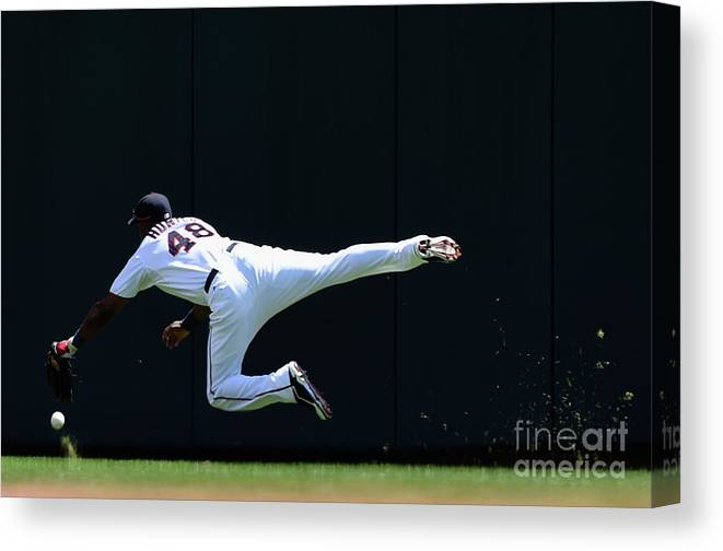 Second Inning Canvas Print featuring the photograph Carlos Beltran and Torii Hunter by Hannah Foslien