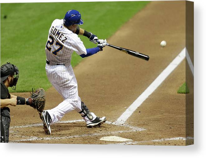 Scoring Canvas Print featuring the photograph Carlos Gomez and Rickie Weeks by Mike Mcginnis