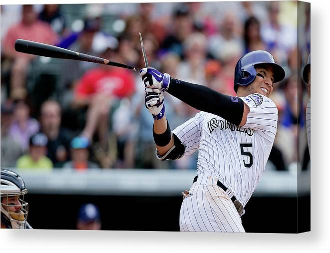National League Baseball Canvas Print featuring the photograph Carlos Gonzalez by Justin Edmonds