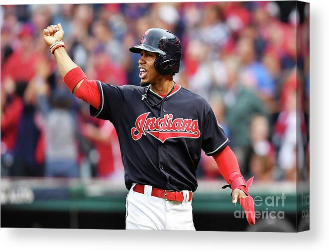 Game Two Canvas Print featuring the photograph Carlos Santana and Francisco Lindor by Jason Miller