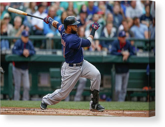 American League Baseball Canvas Print featuring the photograph Carlos Santana by Otto Greule Jr