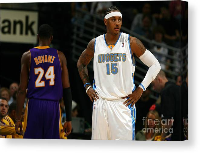 Nba Pro Basketball Canvas Print featuring the photograph Carmelo Anthony, Allen Iverson, and Kobe Bryant by Garrett Ellwood