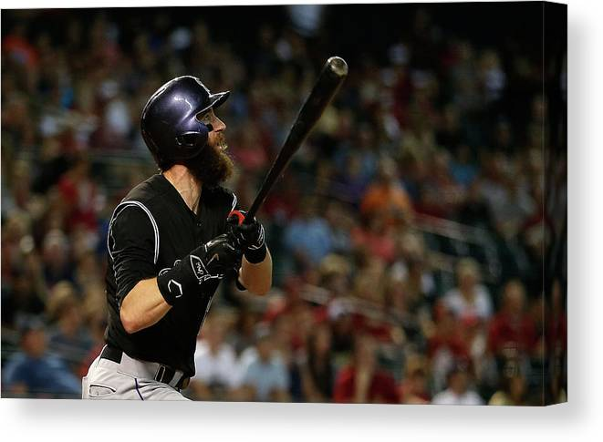 Three Quarter Length Canvas Print featuring the photograph Charlie Blackmon by Christian Petersen