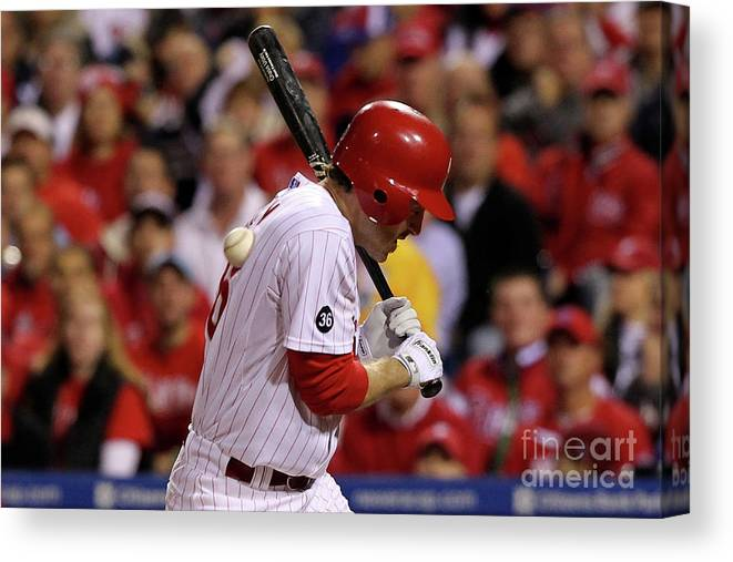 Playoffs Canvas Print featuring the photograph Chase Utley by Al Bello