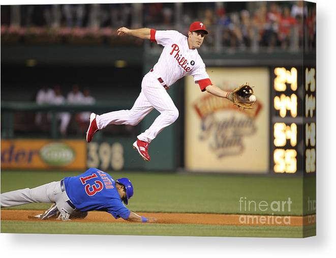 Citizens Bank Park Canvas Print featuring the photograph Chase Utley and Starlin Castro by Hunter Martin