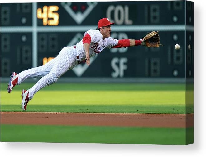 Ball Canvas Print featuring the photograph Chase Utley by Drew Hallowell
