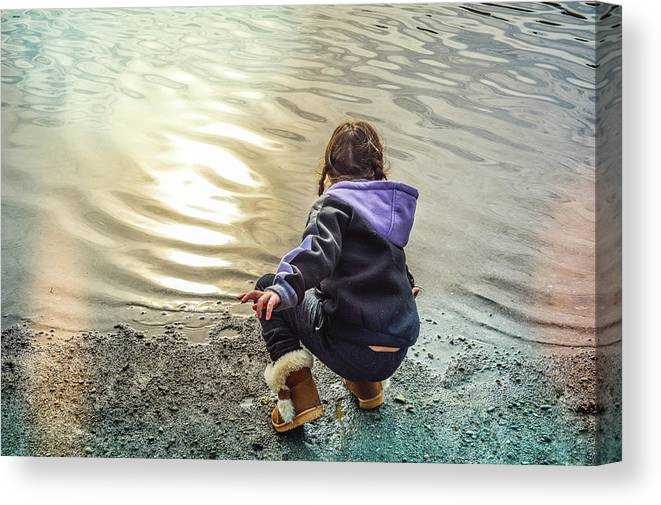 Child Canvas Print featuring the photograph Chasing River Rainbows by Cindy Nunn