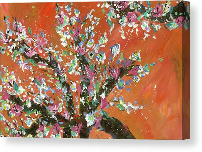 Canvas Print featuring the painting Cherry Tree by Britt Miller
