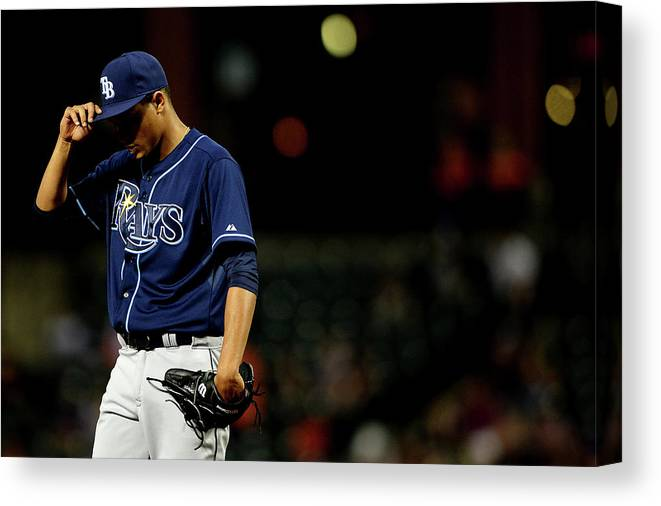 Second Inning Canvas Print featuring the photograph Chris Davis and Chris Archer by Patrick Smith
