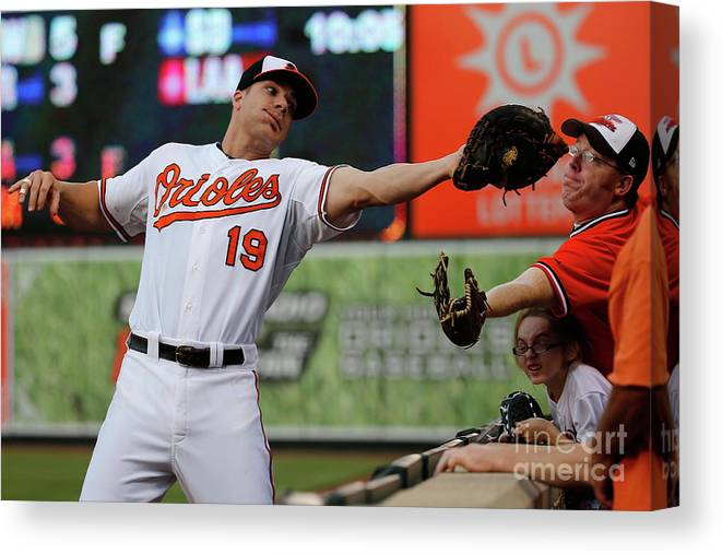 People Canvas Print featuring the photograph Chris Davis and Chris Carter by Rob Carr