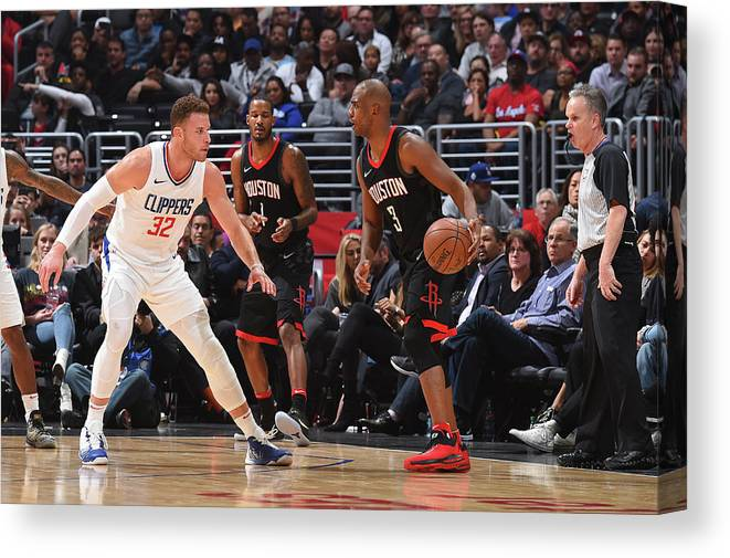 Nba Pro Basketball Canvas Print featuring the photograph Chris Paul and Blake Griffin by Andrew D. Bernstein