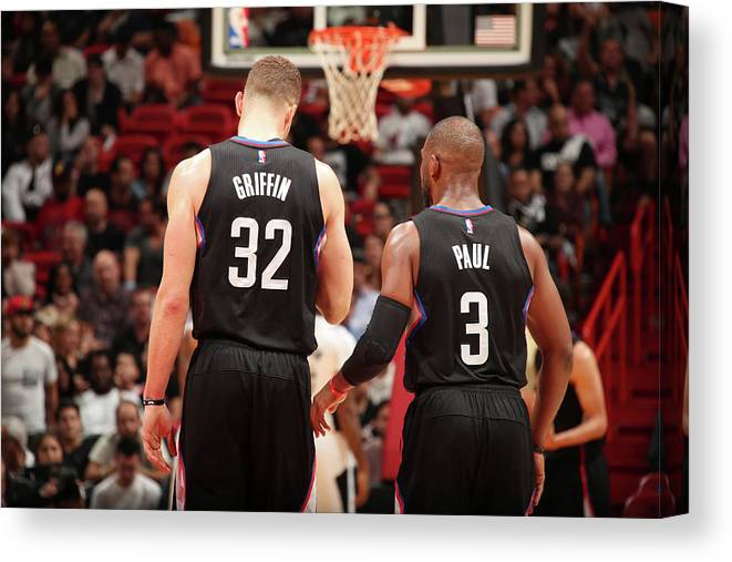 Nba Pro Basketball Canvas Print featuring the photograph Chris Paul and Blake Griffin by Issac Baldizon
