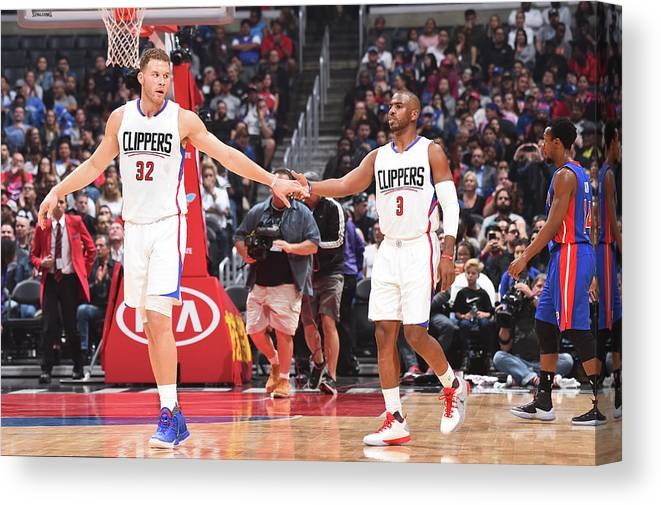 Nba Pro Basketball Canvas Print featuring the photograph Chris Paul and Blake Griffin by Juan Ocampo