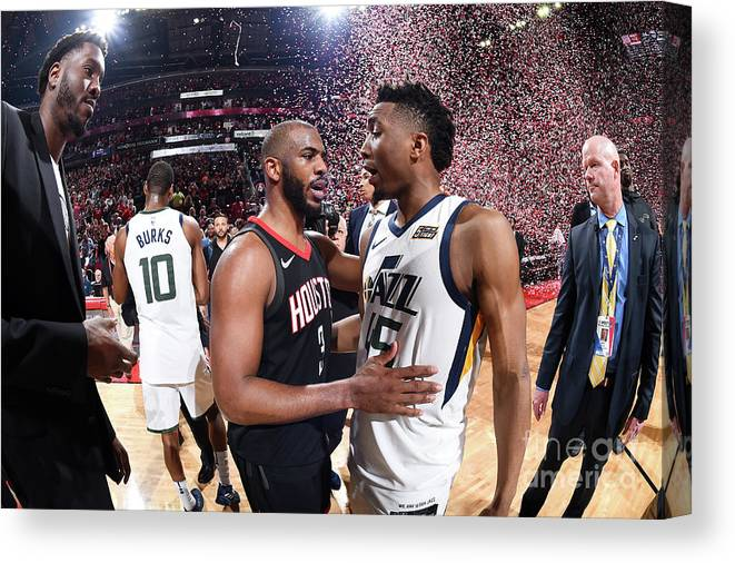 Playoffs Canvas Print featuring the photograph Chris Paul and Donovan Mitchell by Andrew D. Bernstein