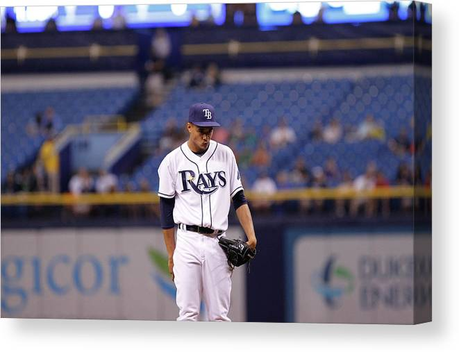 American League Baseball Canvas Print featuring the photograph Chris Ray by Brian Blanco