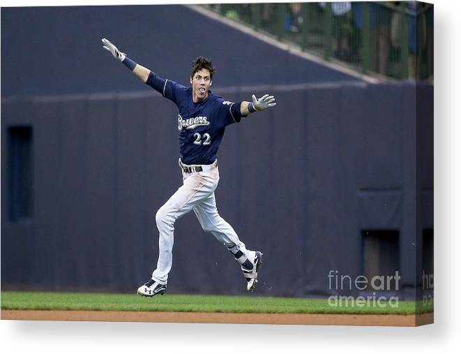 People Canvas Print featuring the photograph Christian Yelich by Dylan Buell