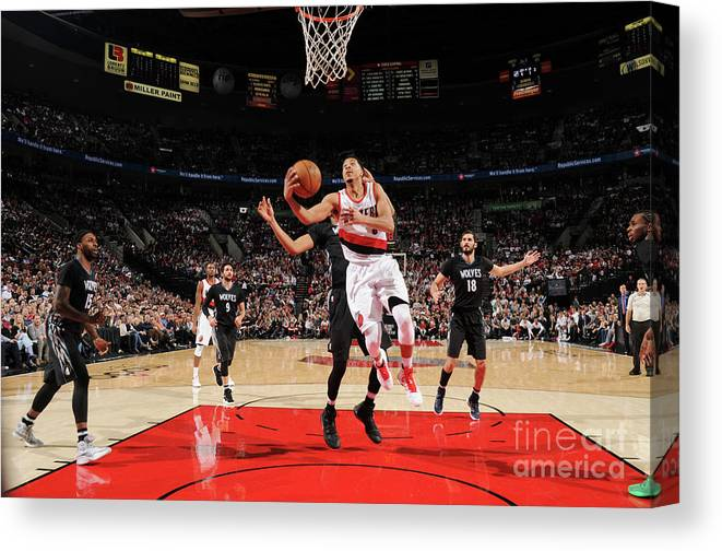 Nba Pro Basketball Canvas Print featuring the photograph C.j. Mccollum by Cameron Browne