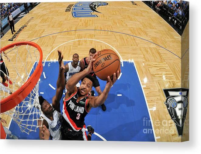 Nba Pro Basketball Canvas Print featuring the photograph C.j. Mccollum by Fernando Medina