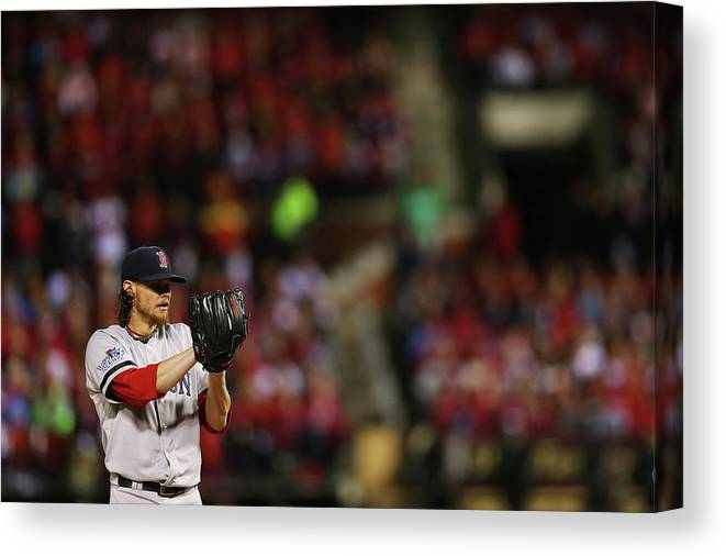 American League Baseball Canvas Print featuring the photograph Clay Buchholz by Ronald Martinez